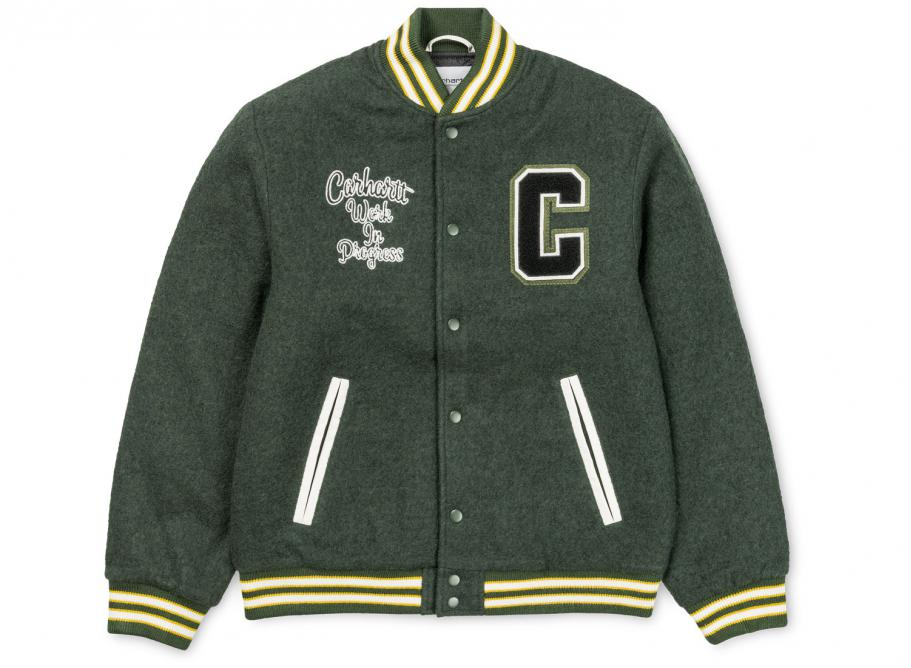 70bfe6c84ba Carhartt Pembroke Varsity Jacket Loden / Wax I025105 / Soldes / Novoid Plus