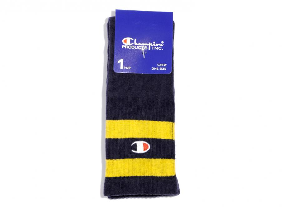 70a6a66637c85 Champion Reverse Weave Tube Socks Navy Yellow   Soldes   Novoid Plus