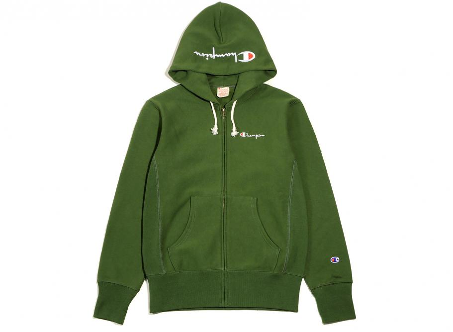 Champion Reverse Weave Hooded Zip Sweatshirt Green