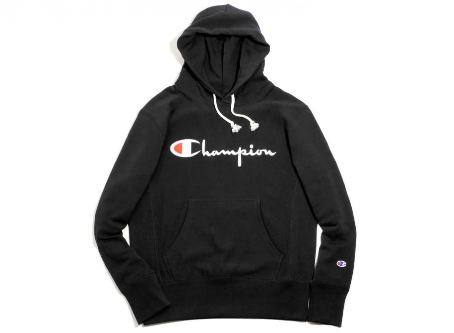 7be9553f84 Champion Reverse Weave Script Logo Hoodie Black   Soldes   Novoid Plus