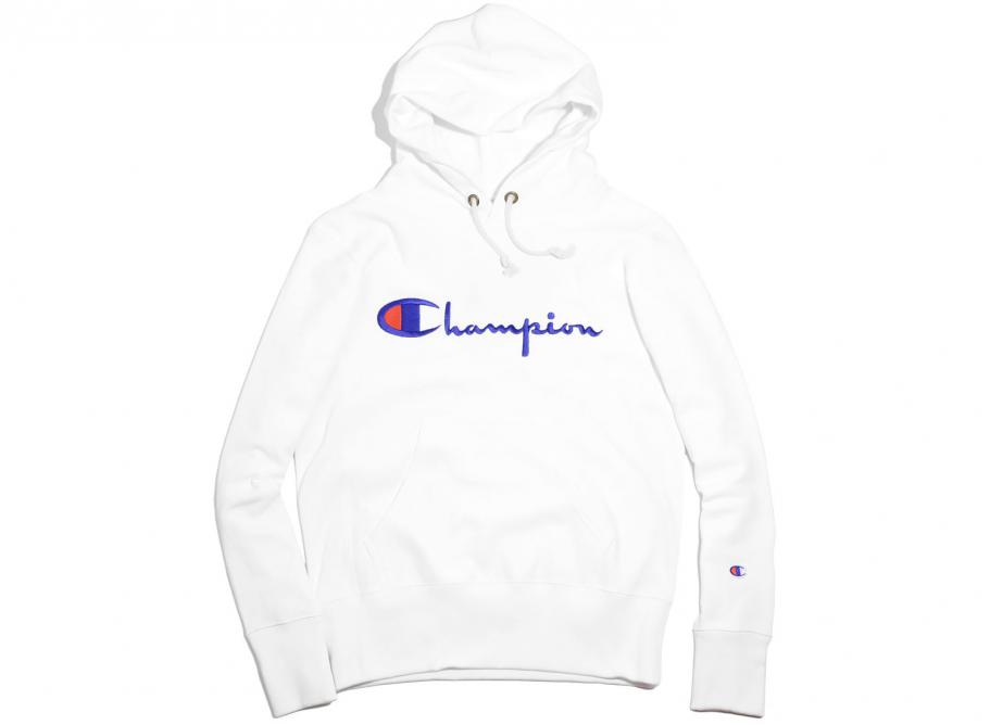 Champion Script Logo Hoodie White / Novoid Plus