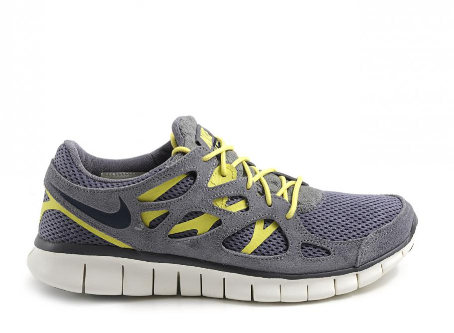 nike free run 2 yellow and grey