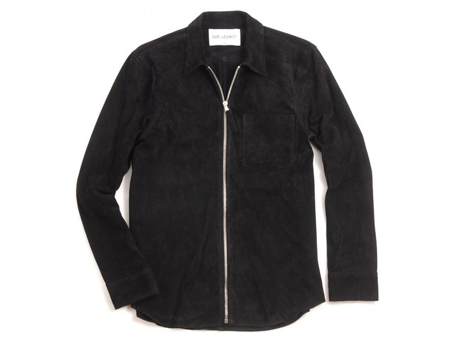 a6b1c5be02ad Our Legacy Suede Zip Shirt Black Suede   Soldes   Novoid Plus