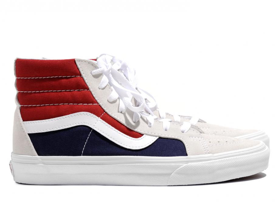 Vans Sk8 Hi Reissue Retro Block White   Red   Dress Blues   Soldes   Novoid  Plus a17df068a
